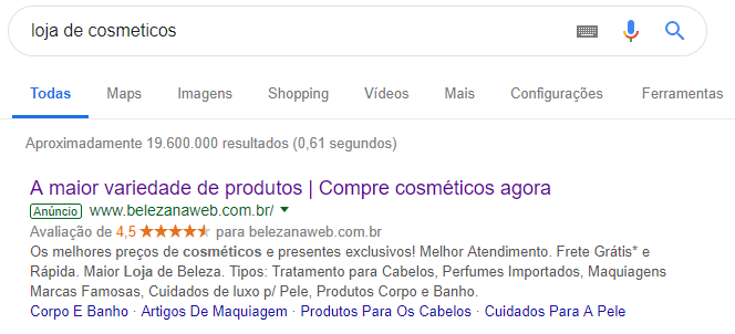 Anúncio na Rede de Pesquisa - Anúncio no Google