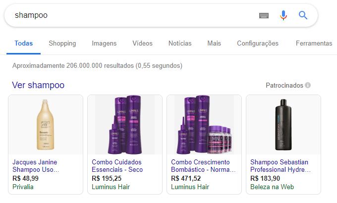 Anúncios no Google Shopping - Anúncio no Google