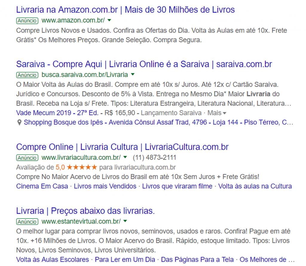 Anunciar no Google - Lista de anúncios