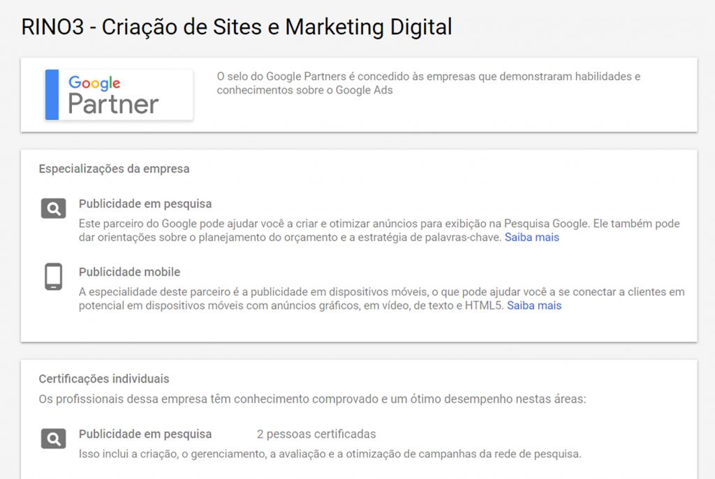Certificações Google Ads - Agência Google Partner