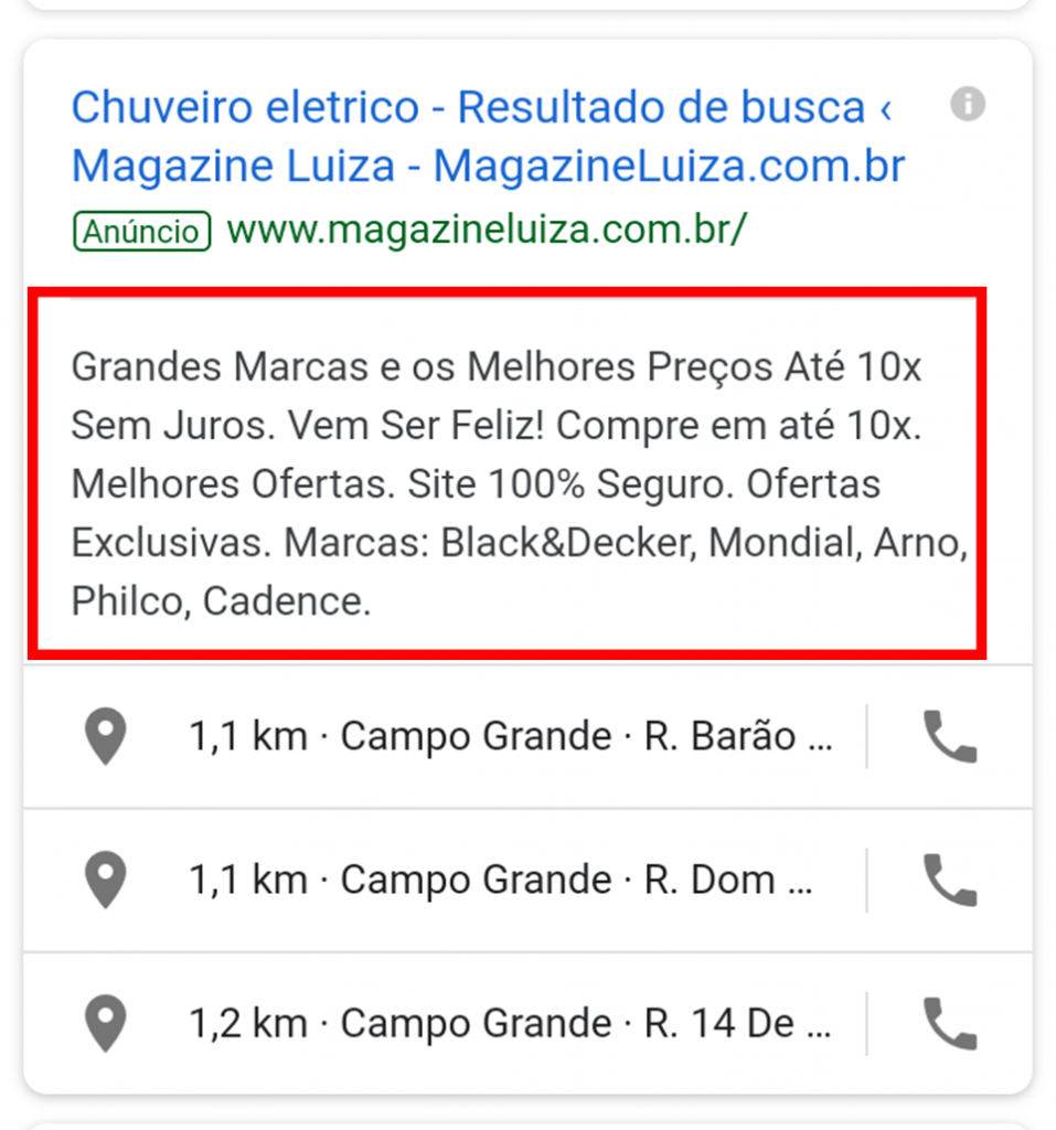 Descrição do anúncio - Google Ads