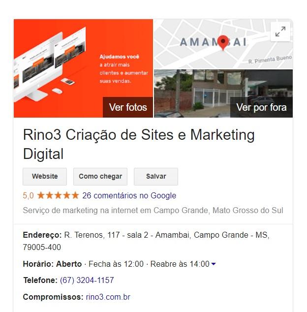 Google Meu Negócio da RINO3