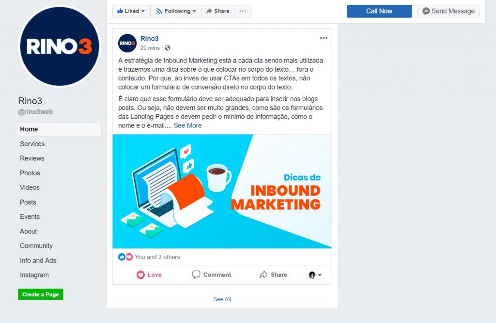 Página da RINO3 no Facebook