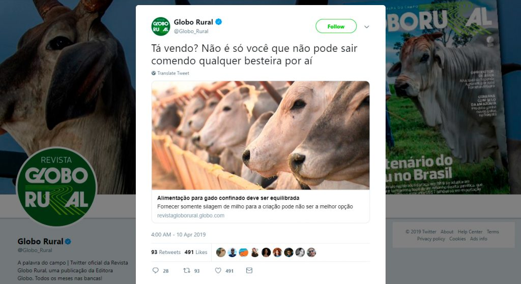Tweet do Globo Rural