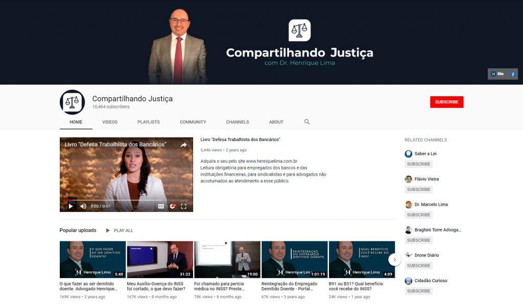 Canal do Compartilhando Justiça no YouTube