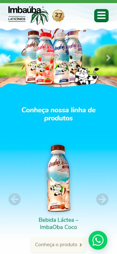 Botão WhatsApp no site da Imbaúba.